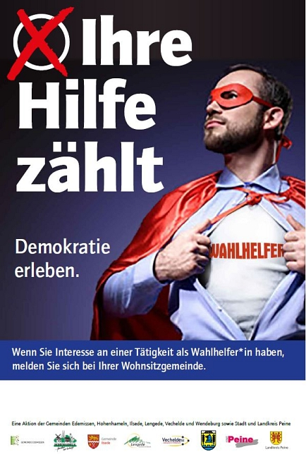 "Plakataktion ""Wahlhelfer gesucht"" © Peine Marketing"